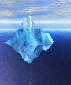 Floating Iceberg in the Open Ocean with Horizon Day